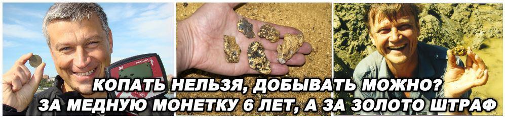 Копать нельзя, добывать можно? Два закона о копе, с разными наказаниями. За злолото штраф 3000 руб, а за монету тюрьма.